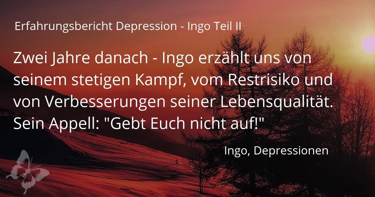 Erfahrungen Depressionen - Ingos Weg