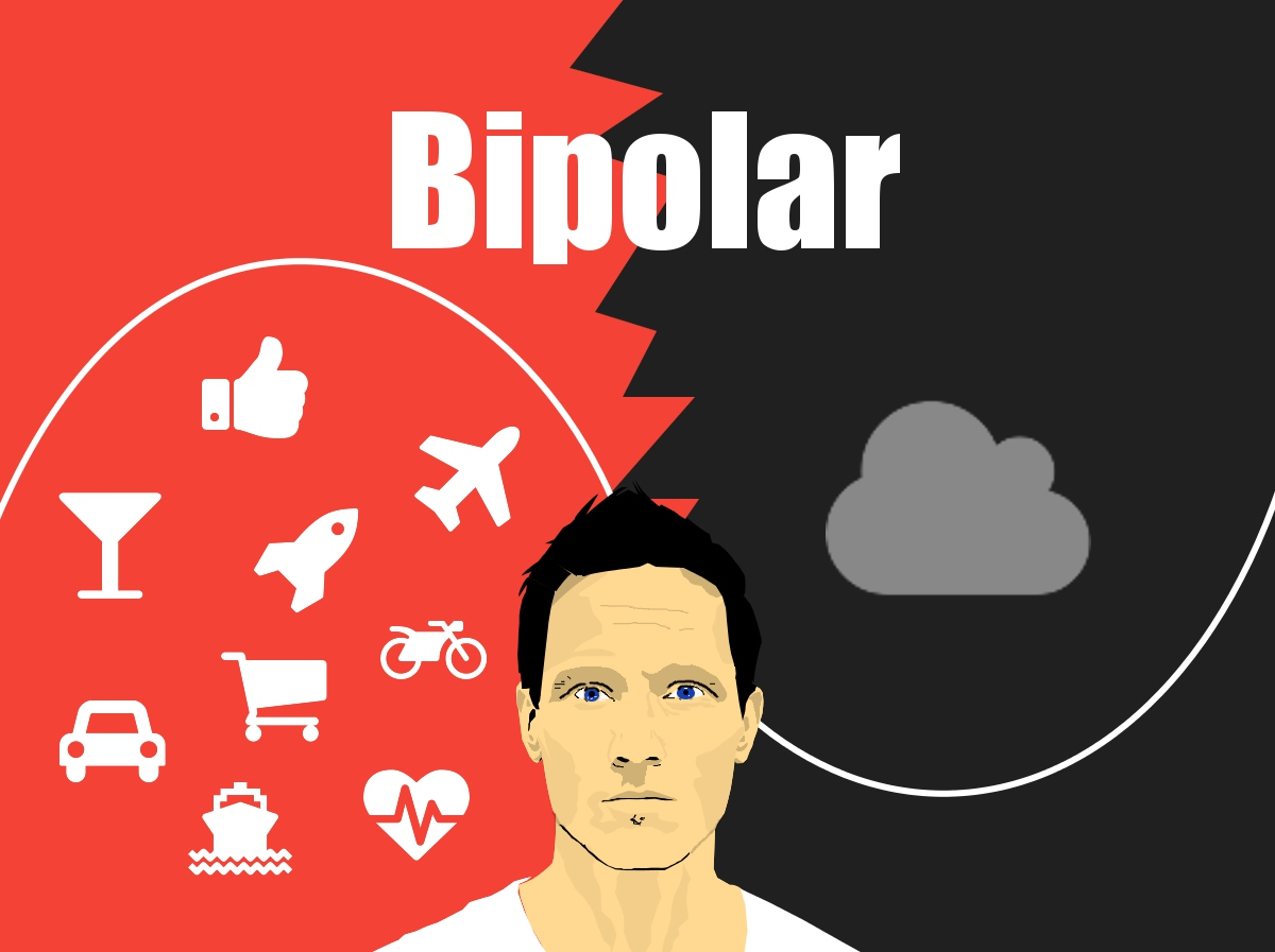 Illustartion Mann Bipolare Affektive Störung