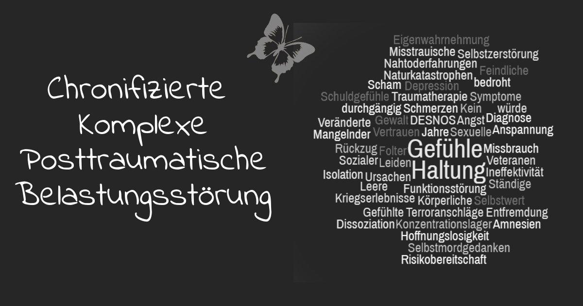 Chronifizierte Komplexe Posttraumatische Belastungsstoerung; Schaubild mit Wortwolke